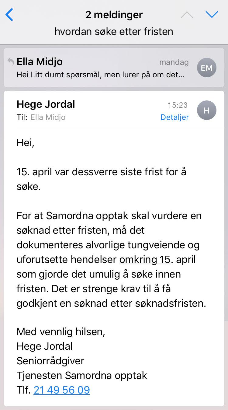Mail fra samordna ny